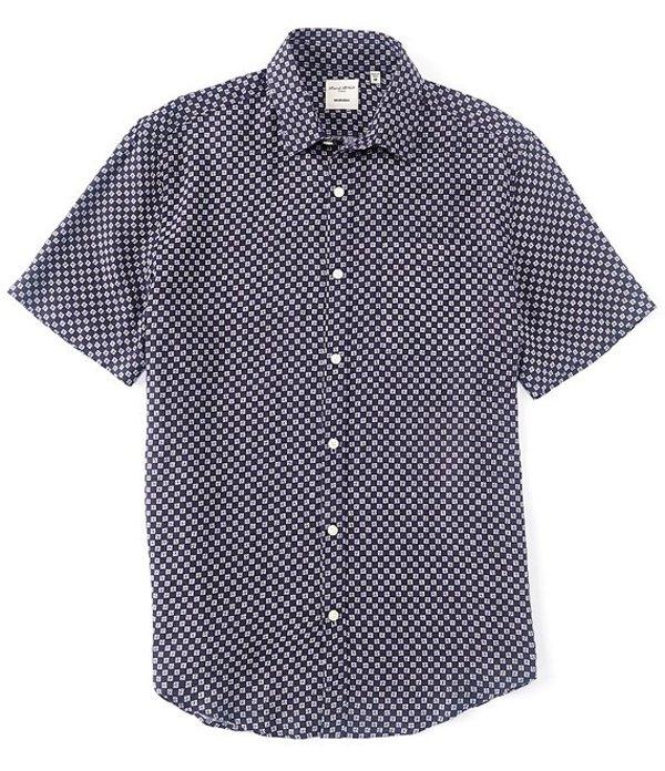 ムラノ メンズ シャツ トップス Slim-Fit Geo Print Baird McNutt Linen Short-Sleeve Woven Shirt White