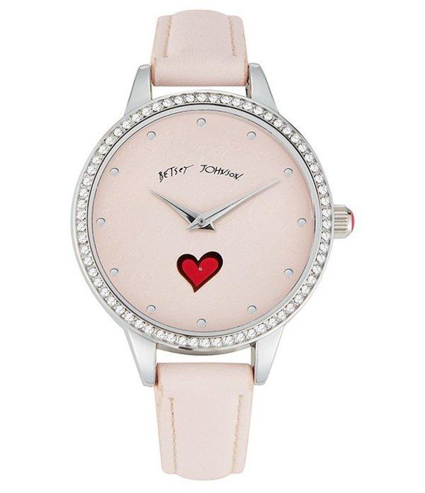 ベッツィジョンソン レディース 腕時計 アクセサリー Heart Pattern Pink Strap Watch Pink