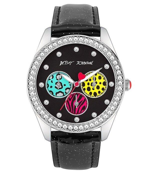 ベッツィジョンソン レディース 腕時計 アクセサリー Animal Pattern Glitter Strap Watch Black