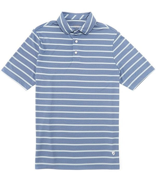 ダニエル クレミュ メンズ シャツ トップス Stripe Pique Performance Comfort Stretch Short-Sleeve Polo Shirt Mazarine Blue
