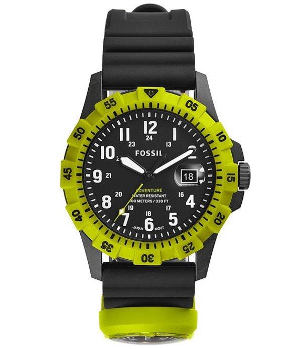 フォッシル メンズ 腕時計 アクセサリー Men's FB-Adventure Three-Hand Date Black Silicone Watch Black