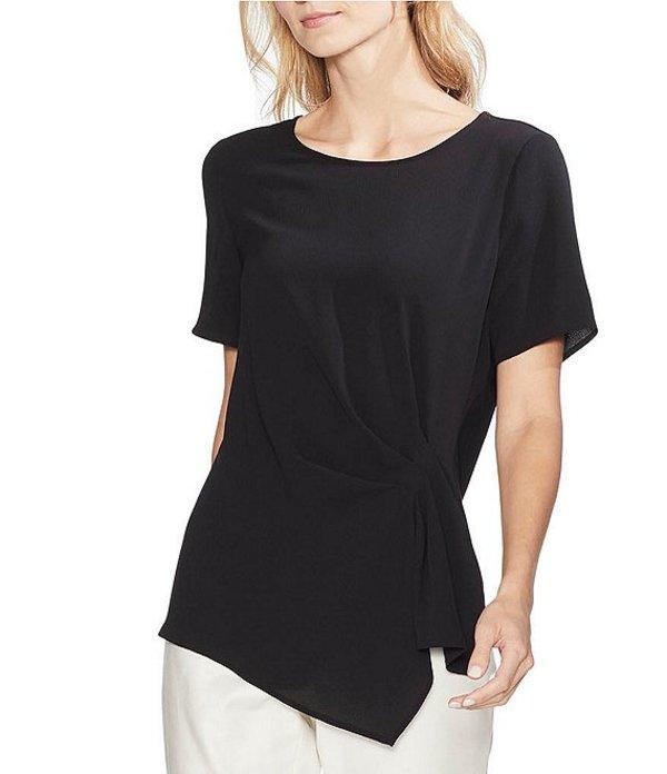 ヴィンスカムート レディース シャツ トップス Short Sleeve Gathered Side Asymmetrical Blouse Rich Black