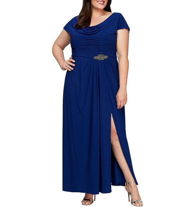 アレックスイブニングス レディース ワンピース トップス Plus Size Matte Jersey Cowl Neck Pleated Embellished Side Detail Long Gown Dark Royal