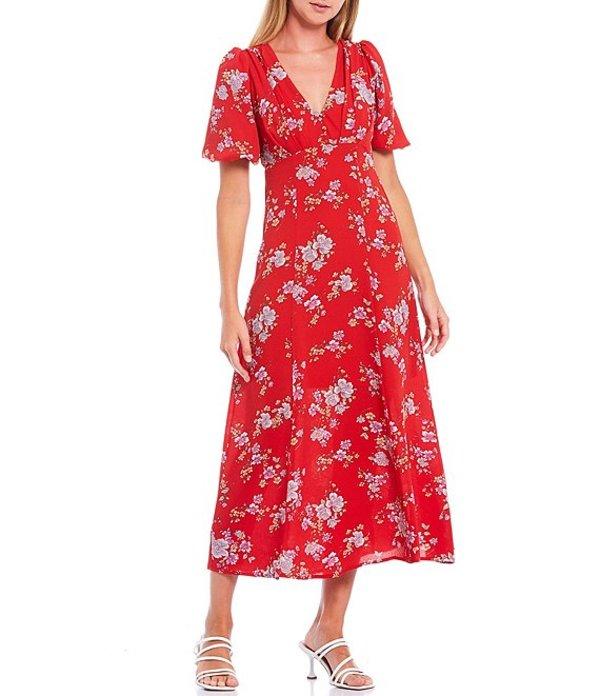 ベッツィジョンソン レディース ワンピース トップス Floral Pebble Crepe V-Neck Puff Sleeve Midi Dress Cherry Red Multi