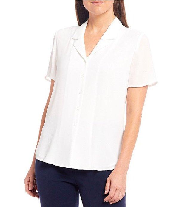 インベストメンツ レディース シャツ トップス Short Sleeve Notch Collar Top White