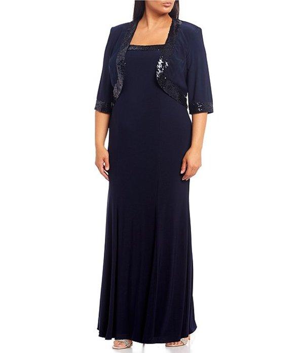ルボ レディース ワンピース トップス Plus Size Sequin Trim Jacket Gown Navy