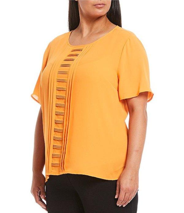 インベストメンツ レディース シャツ トップス Plus Size Short Sleeve Pleat Front Top Orange