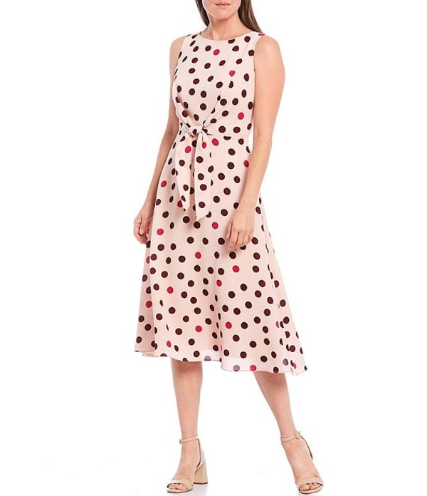 マギーロンドン レディース ワンピース トップス Multi Dot Bubble Crepe Tie Front Sleeveless Midi Dress Dusty Storm/Wine