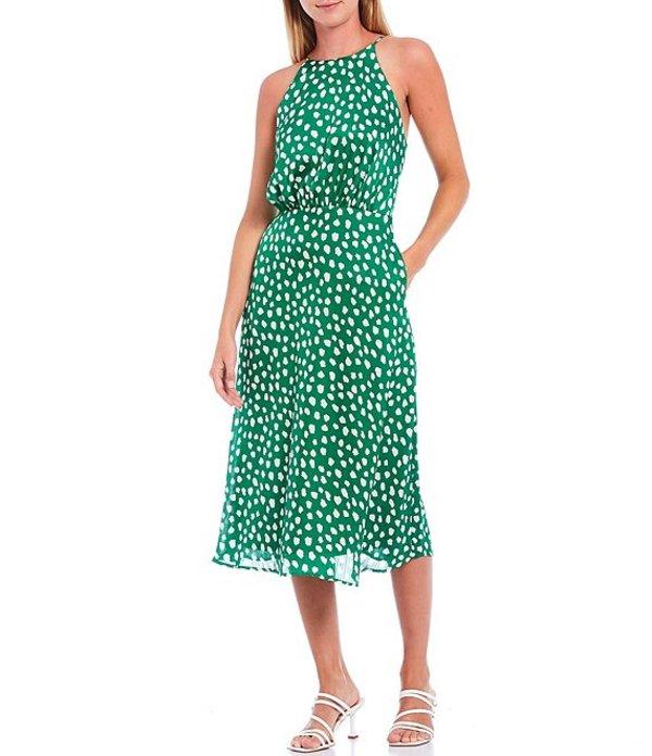ベッツィジョンソン レディース ワンピース トップス Sleeveless Leopard Dot Halter Satin Midi Dress Green Multi