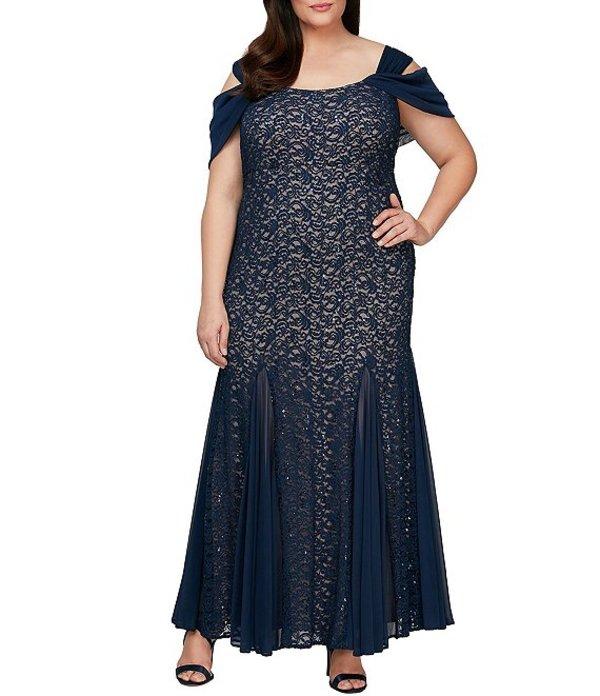 アレックスイブニングス レディース ワンピース トップス Plus Size Cold Shoulder Sequin Lace Gown Navy/Nude