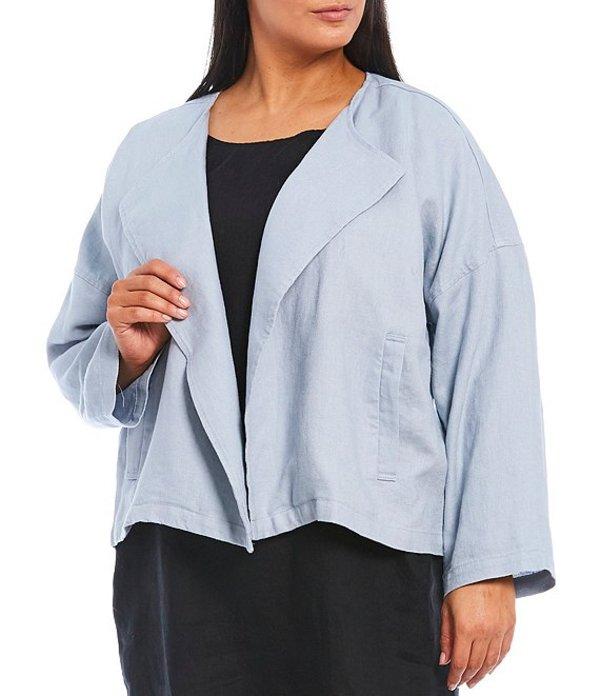エイリーンフィッシャー レディース ジャケット・ブルゾン アウター Plus Size Heavy Organic Linen Drape Front Jacket Dawn