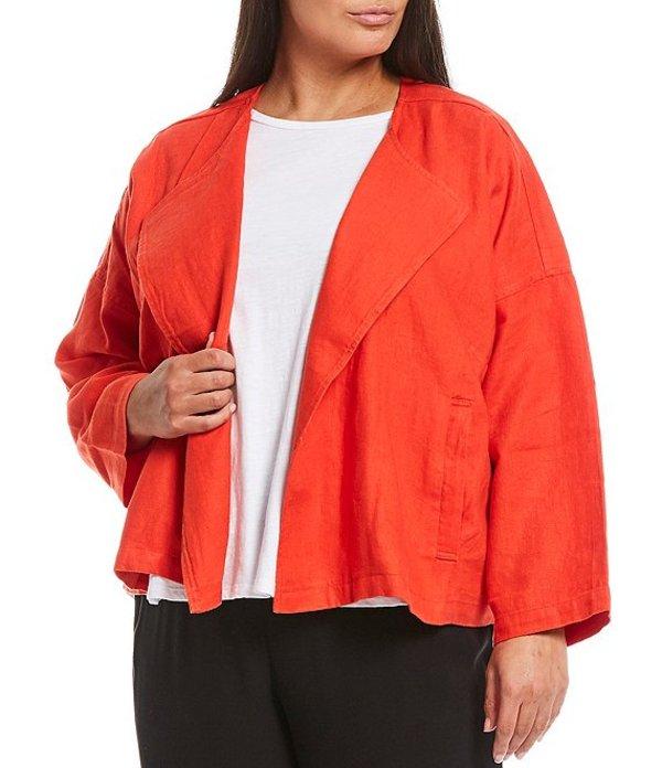 エイリーンフィッシャー レディース ジャケット・ブルゾン アウター Plus Size Heavy Organic Linen Drape Front Jacket Geranium