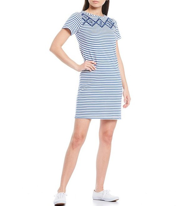 ジュールズ レディース ワンピース トップス Riviera Stripe Print Cotton Knit Embroidered Neckline Short Sleeve Shift Dress White Blue Stripe