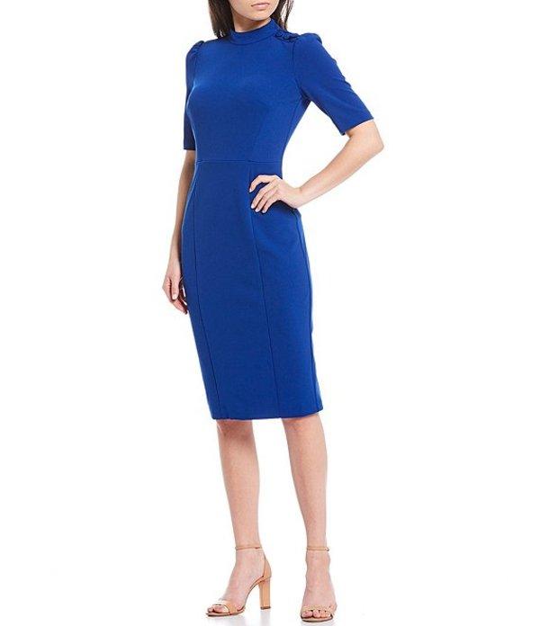 ドナモーガン レディース ワンピース トップス Stretch Crepe Mock Neck Sheath Dress Blue Sapphire