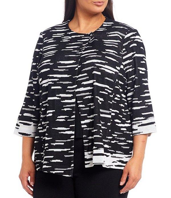 ミンウォン レディース ジャケット・ブルゾン アウター Plus Size Knit Crew Neck Jacket Black/White