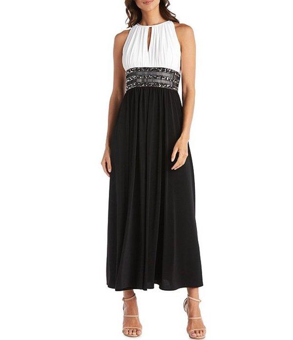 アールアンドエムリチャーズ レディース ワンピース トップス Colorblock Halter Neck Sleeveless Beaded Long Dress Ivory/Black