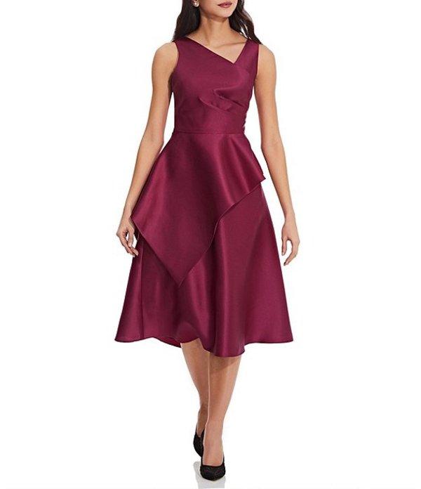 アドリアナ パペル レディース ワンピース トップス Peplum Mikado Tea Length Sleeveless Dress Red Plum