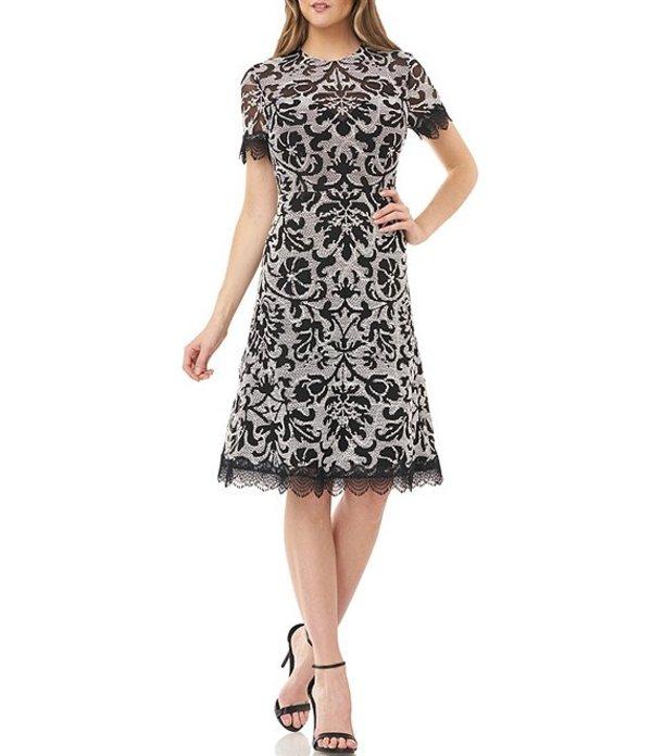 ジェイエスコレクションズ レディース ワンピース トップス Lace Trim Corded Embroidery Short Sleeve Dress Ivory/Black