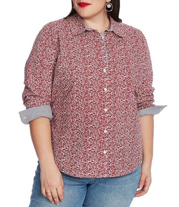 コート&ロー レディース シャツ トップス Plus Size Long Sleeve Floral Button Down Shirt Bright Rouge