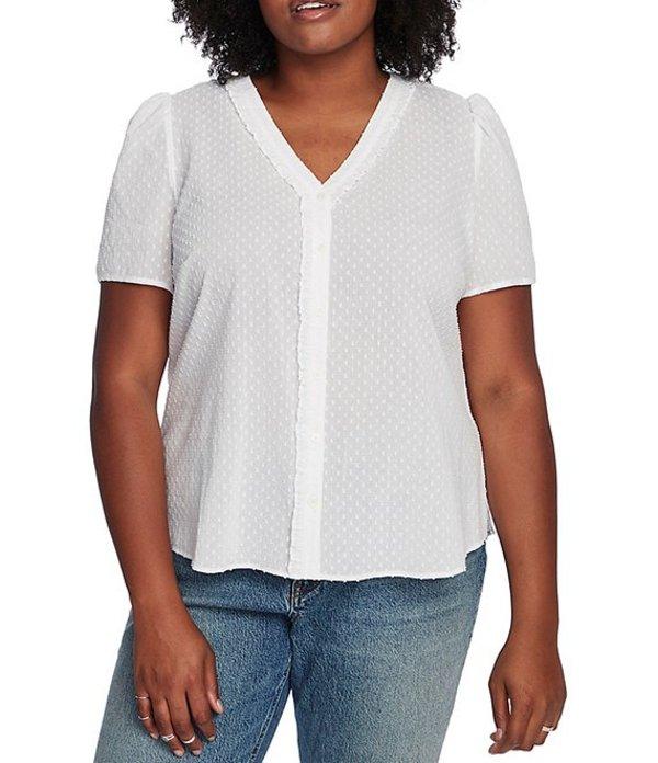コート&ロー レディース シャツ トップス Plus Size Short Sleeve Clip Dot Button Front Blouse Ultra White
