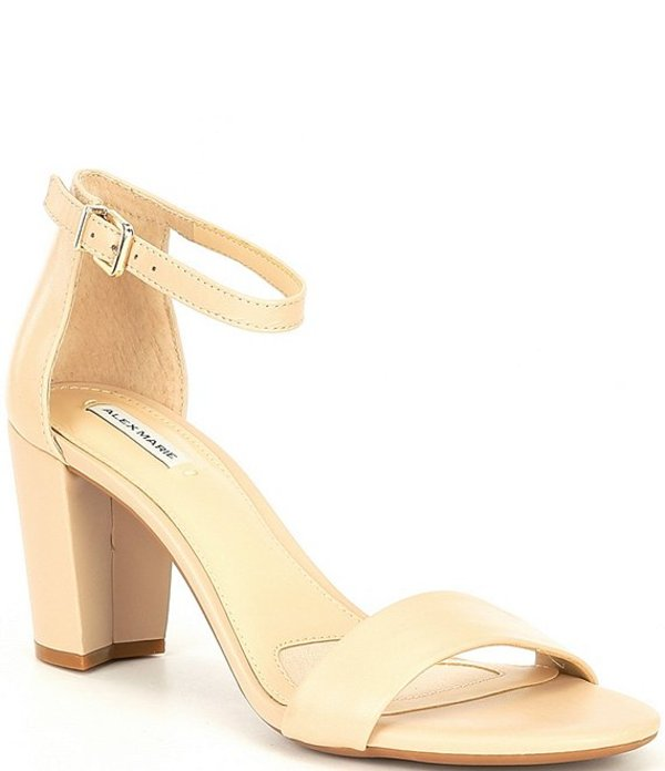 アレックスマリー レディース サンダル シューズ Halmar Ankle Strap Leather Block Heel Sandals Neutral