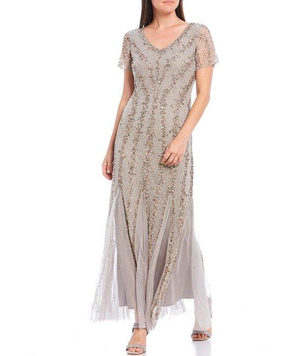 ピサッロナイツ レディース ワンピース トップス Petite Size V-Neck Short Sleeve Sequin Gown Silver