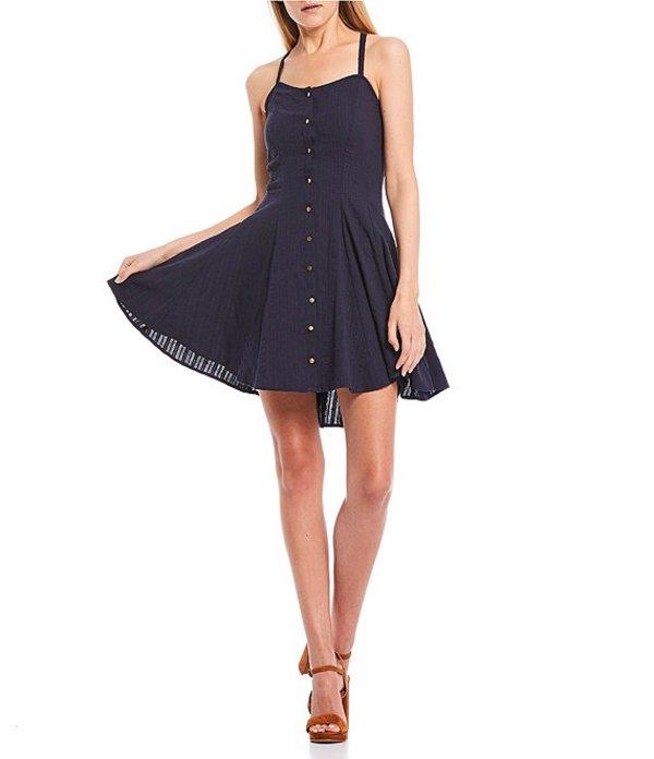 チェルシーアンドバイオレット レディース ワンピース トップス Button Front Lace-Up Back Sleeveless Swing Dress Navy