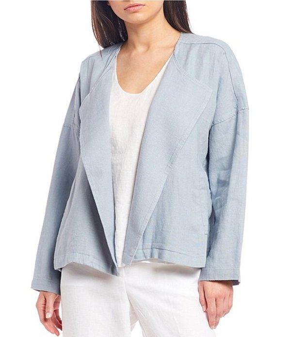 エイリーンフィッシャー レディース ジャケット・ブルゾン アウター Petite Size Heavy Organic Linen Drape Front Jacket Dawn
