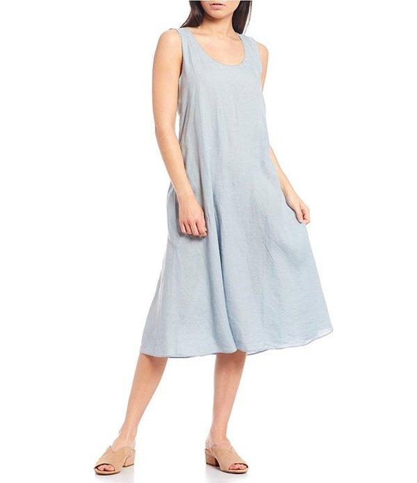 エイリーンフィッシャー レディース ワンピース トップス Petite Size Organic Handkerchief Linen Scoop Neck Calf Length Dress Dawn