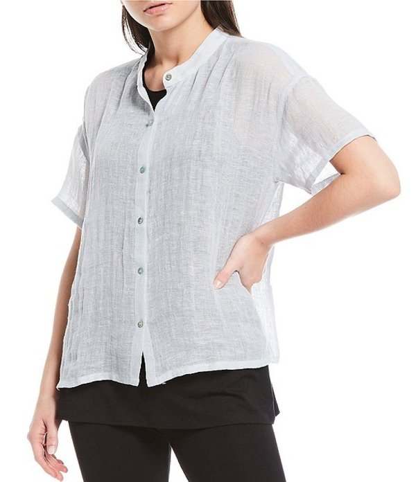 エイリーンフィッシャー レディース シャツ トップス Petite Size Organic Linen Gauze Mandarin Collar Short Sleeve Shirt Dawn