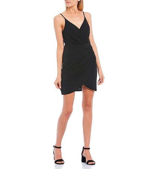 シティヴァイブ レディース ハーフパンツ・ショーツ ボトムス Surplice Neckline Lace Back Draped ITY Dress Black