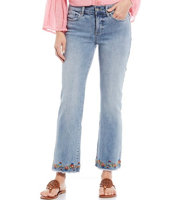 エヌワイディージェイ レディース デニムパンツ ボトムス Marilyn Straight Leg Embroidered Fray Hem Ankle Jeans Clean Coheed