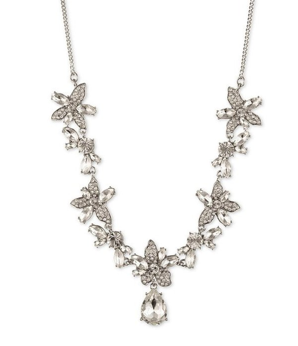 ジバンシー レディース ネックレス・チョーカー アクセサリー Crystal Flower Frontal Necklace Rhodium
