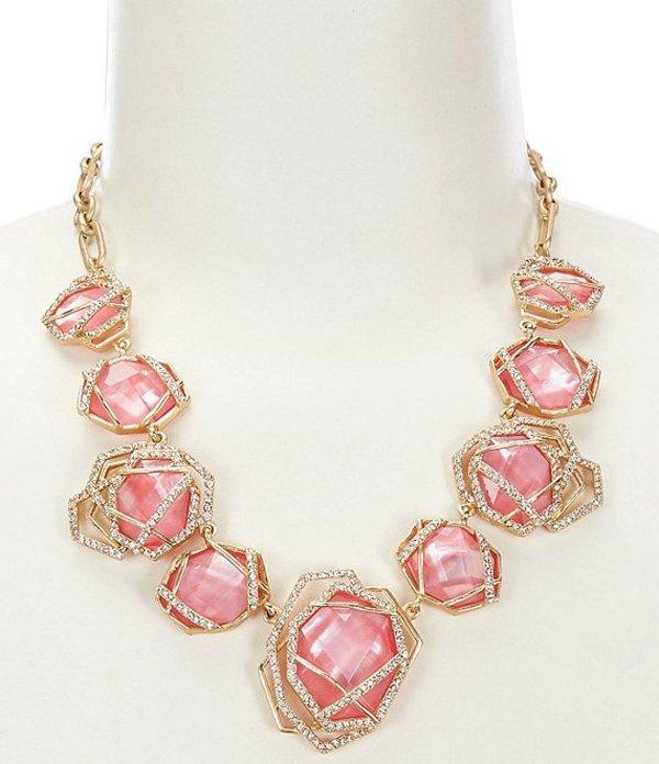 ベルバッジリーミシュカ レディース ネックレス・チョーカー アクセサリー Geometric Cage Stone Collar Necklace Pink