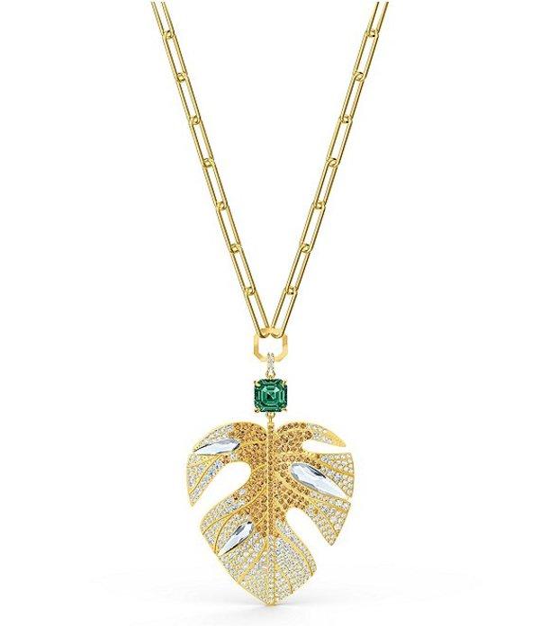 スワロフスキー レディース ネックレス・チョーカー アクセサリー Tropical Leaf Pendant Necklace Gold