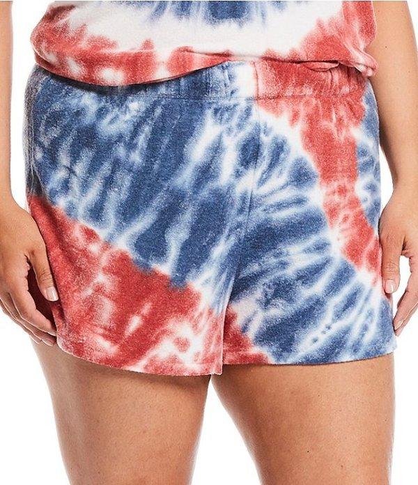 ピージェイサルベージ レディース ハーフパンツ・ショーツ ボトムス Plus America Revival Tie-Dye Print Jersey Knit Sleep Shorts Ivory
