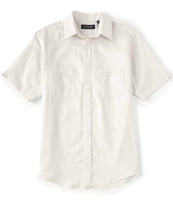 ラウンドトゥリーアンドヨーク メンズ シャツ トップス Short-Sleeve Solid Dobby Tailored to Wear Untucked Sportshirt Khaki