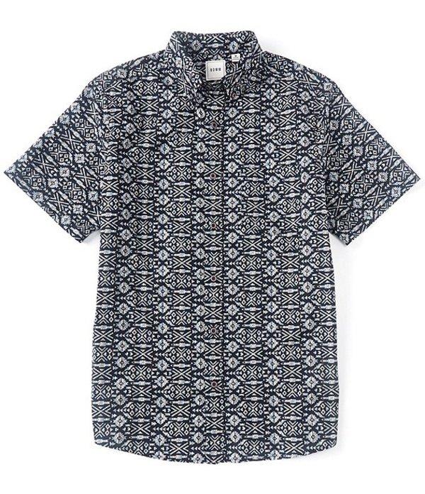ラウン メンズ シャツ トップス Short-Sleeve Tribal Print Sportshirt Dark Navy
