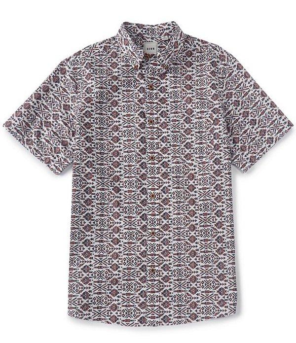 ラウン メンズ シャツ トップス Big & Tall Short-Sleeve Aztec Print Sportshirt Winter White