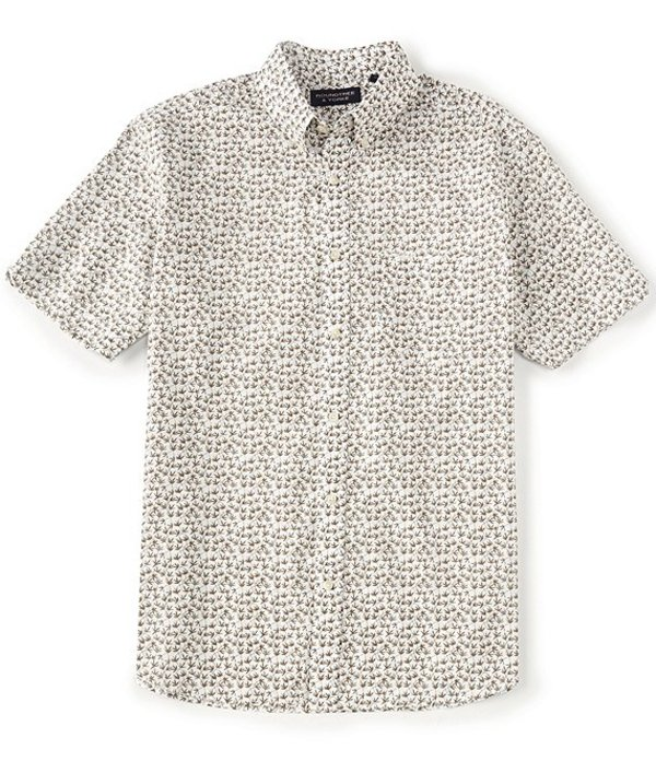 ラウンドトゥリーアンドヨーク メンズ シャツ トップス Big & Tall Short-Sleeve Leaf Printed Sportshirt White
