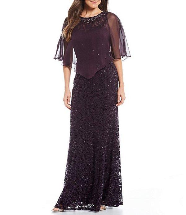 イグナイト レディース ワンピース トップス Sequin Lace Capelet Gown Plum