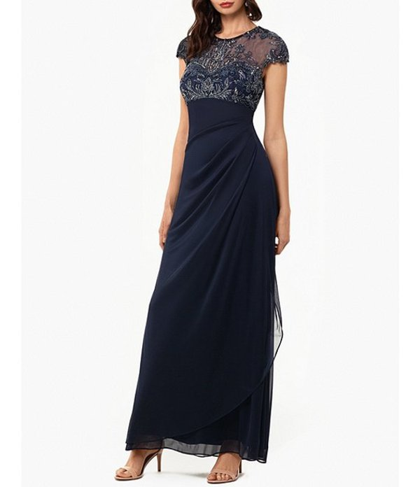 エスケープ レディース ワンピース トップス Beaded Bodice Side Ruched Cap Sleeve Matt Jersey Gown Navy