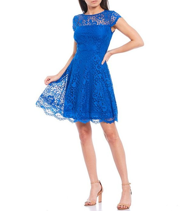 ケンジー レディース ワンピース トップス Illusion Neck Cap Sleeve Lace Fit & Flare Scallop Hem Dress Blue