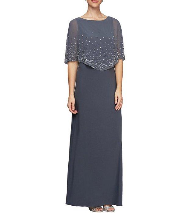 アレックスイブニングス レディース ワンピース トップス Embellished Popover Stretch Matte Jersey A-Line Gown Smoke