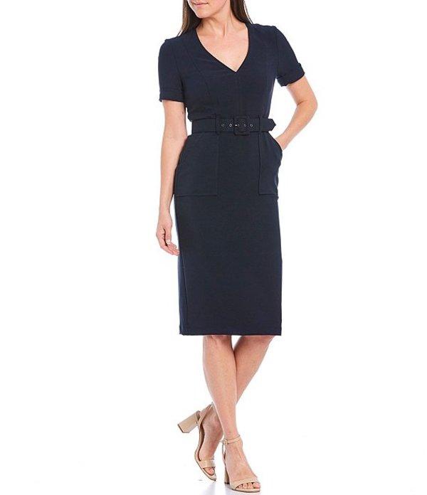 マギーロンドン レディース ワンピース トップス V-Neck Short Sleeve Belted Utility Sheath Crepe Dress Dark Navy