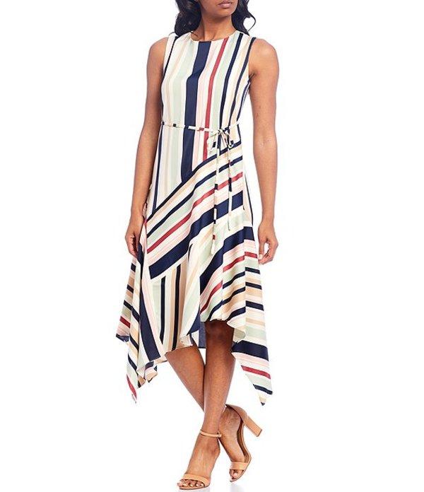 マギーロンドン レディース ワンピース トップス Sleeveless Asymmetric Hem Multi Stripe Tie Waist Charmeuse Midi Dress Soft White/Blush