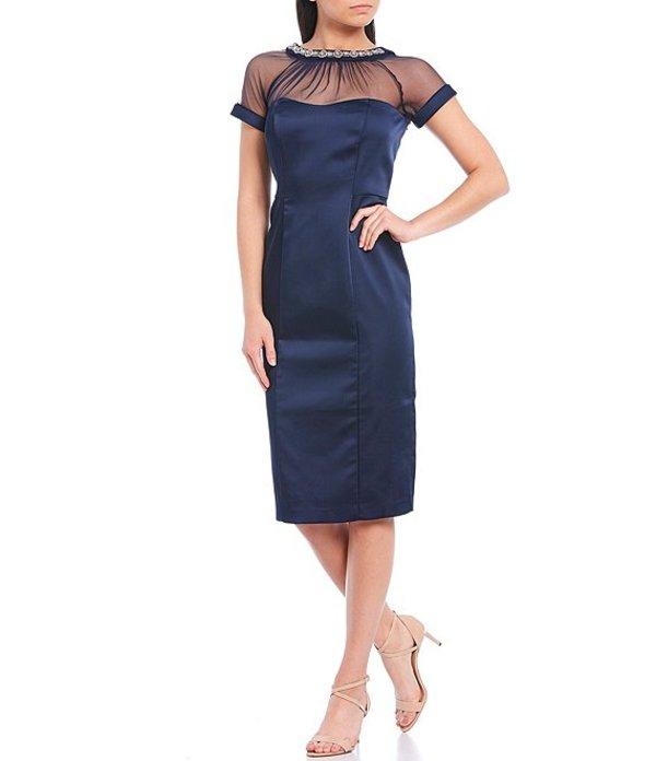 Stretch Sheath Illusion マギーロンドン Dream Jewel Collar Short Dress トップス Sleeve Satin Navy レディース Neck ワンピース