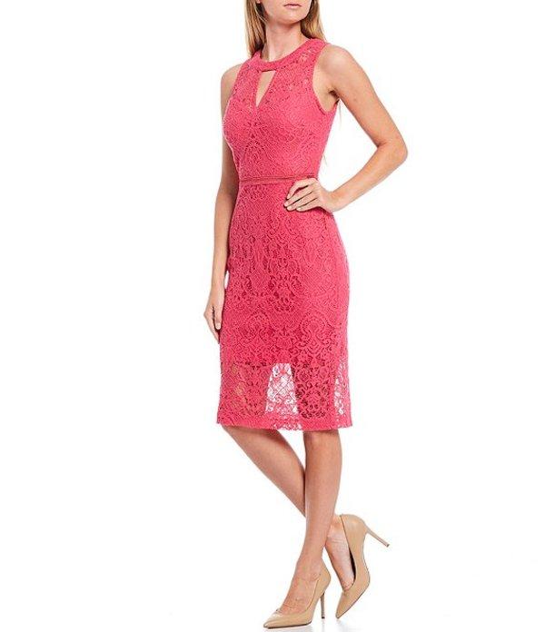 ゲス レディース ワンピース トップス Sleeveless Keyhole Detail Illusion Hem Lace Sheath Dress Hot Pink