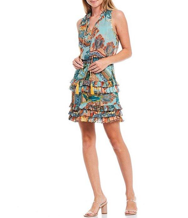 ランドリーバイシェリーシーガル レディース ワンピース トップス Bandanna Printed Chiffon Sleeveless Ruffle Hem Blouson Dress Multi