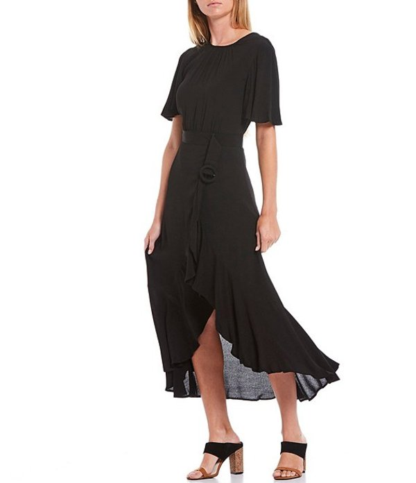 フレンチコネクション レディース ワンピース トップス Emina Flutter Sleeve Ruffle Hi-Low Tulip Hem Dress Black